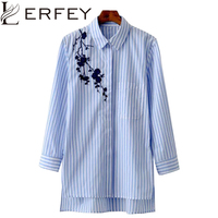 LERFEY Women Blouse Shirt Embroidery Female Blouses Shirts Casual Striped Spring Summer Vintage Tops Women Clothing