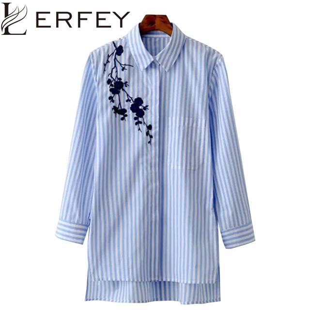 LERFEY Women Blouse Shirt Embroidery Female Blouses Shirts Casual Striped Spring Summer Vintage Tops Women Clothing Blusas