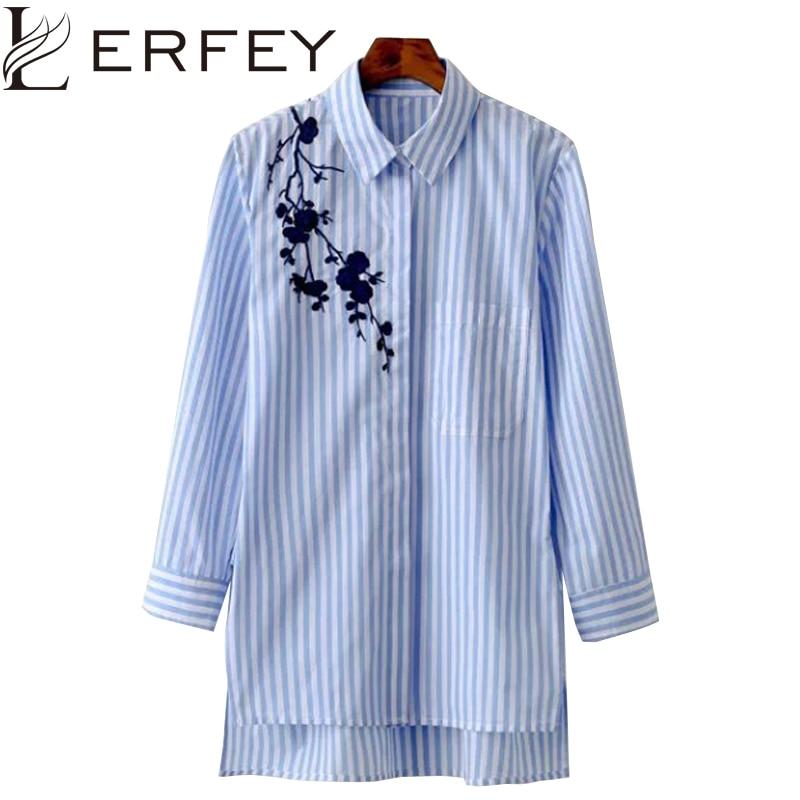 LERFEY Women Blouse Shirt Embroidery Fems