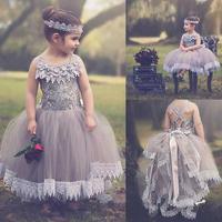 Дети Серый кружевное платье с цветочным рисунком свадебное платье для девочек Paino танцевальное шоу Выпускной вечерние Платья для празднико
