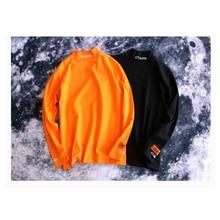 18SS Heron Preston Men T-Shirt CTNNB Letter Embroidery Turtleneck Black Orange Collar Cotton Long Sleeves HP Hip Hop Tees