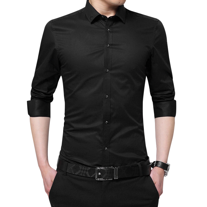 2020 New Spring Men Shirt Long Sleeve Shirt Solid Embroidery Collar Casual Shirts Slim Fit Man Formal Shirt Brand Clothes DS233