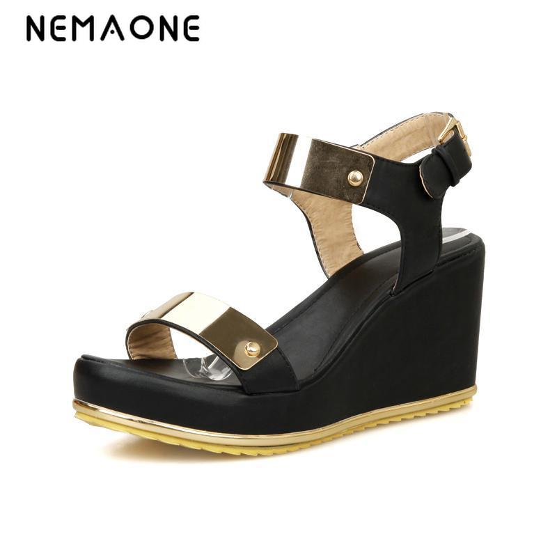 NEMAONE Summer High Heels Gladiator Sandals Platform Women Wedges Shoes Female Open Toe High Flip Flops 2016 Plus Size 12 free shipping fashion 2017 new summer wedges platform sandals women black and white open toe high heels female shoes z596
