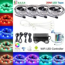 5 м 10 м 12 V гибкий светодиодный полосы света SMD 2835 15 м/20 м RGB Светодиодные ленты+ Wi-Fi светодиодный контроллер+ ЕС переходник светодиодный свет украшения
