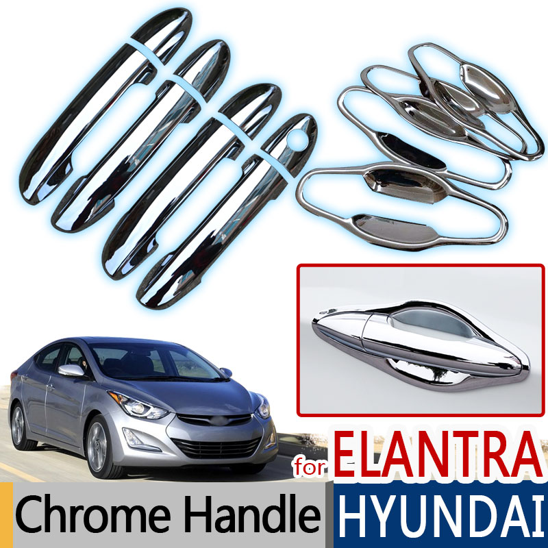Door Handle For 2011-2016 Hyundai Elantra Front Left Chrome w// Cover Plastic