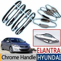 Pour Hyundai Elantra 2011-2016 Chrome poignée de porte couvercle garniture ensemble de 4 pièces Avante 2012 2013 2014 2015 accessoires voiture style