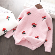 Baby Girls Sweater Knit Clothes Tops 2018 Winter Autumn Cotton Outerwear Kids Wool Cherry Sweaters Pullover for Girl 5 6 7 years boys and girls cartoon sweaters 2017 autumn winter new children knitting clothes baby casual cotton knit wear pullover tops 3 8y