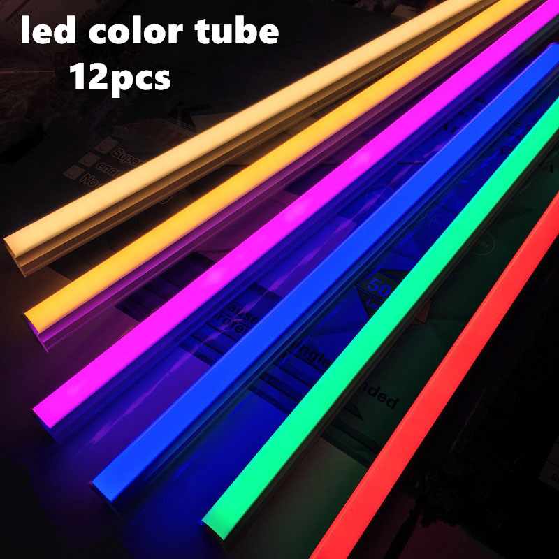 12pcs <font><b>LED</b></font> tube 6w 9w13w <font><b>18w</b></font> <font><b>T5</b></font> <font><b>led</b></font> color lamp T8 ultra bright red blue yellow fluorescent pink bar colorful tubes AC100-265V image