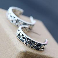 925 pure Tremella nail retro pattern small ear ring silver earrings