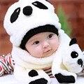 Panda bonito dos desenhos animados do bebê boy girl chapéus de inverno de lã crianças cap bebê crianças chapéu e lenço