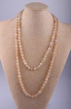 9f0000ee89bd MOODPC moda nudo largo perlas Halsband amarillo ágata piedras naturales  collar
