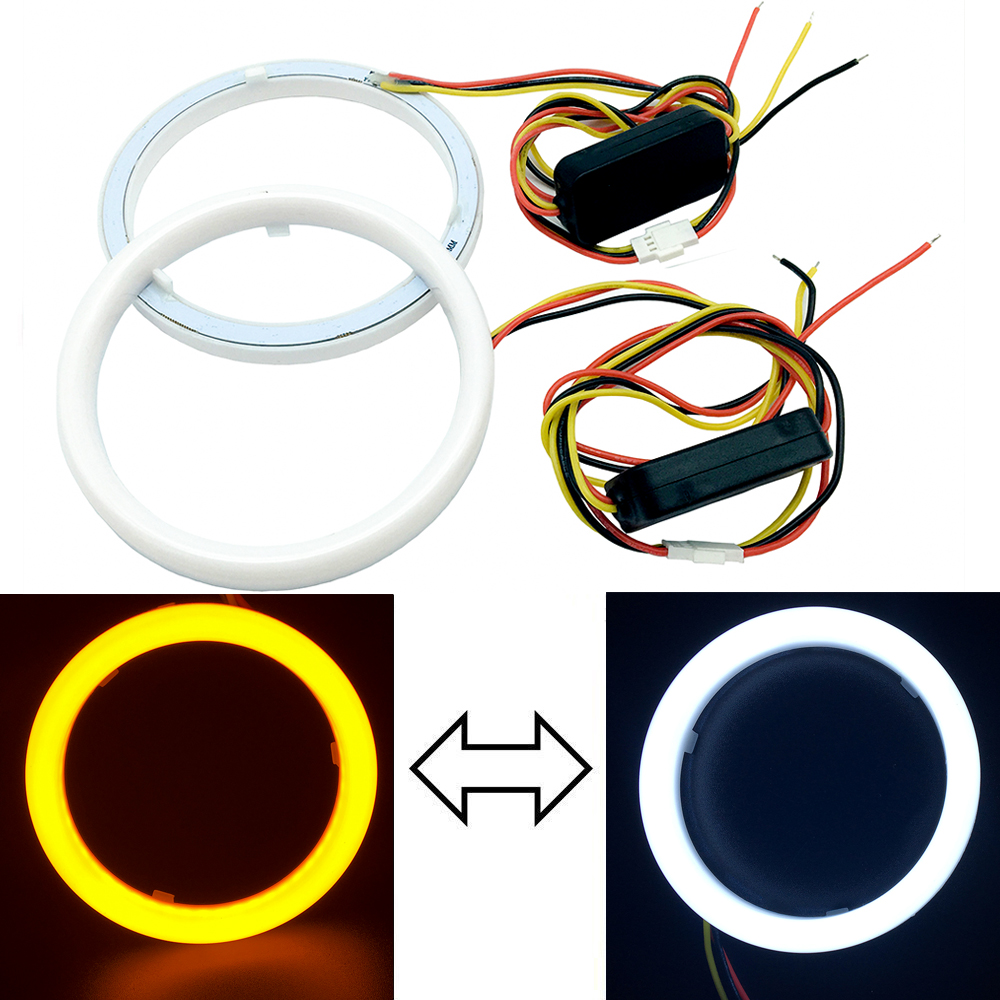 NEW Car Angel Eyes 95MM 2Pcs/Set Auto Halo Rings Angel Eye 12V 24V Headlight 90 mm 3020 SMD LED Motorcycle White+Yellow Color 80 mm 12v cob car led angel eyes halo rings with lampshade 63smd halo anneau colorful led headlights white yellow red blue light
