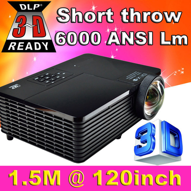 ATCO Short Throw 300 inch 6000 Люмен DLP Голограмма 3D Проектор HD ПК USB VGA Переход 1080 P Заднего Видео Проектор Для Образования школа