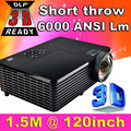 ATCO Short Throw 300inch 6000Lumen DLP Hologram 3D Projector HD PC USB VGA Daylight 1080P Rear Video Beamer For Education School