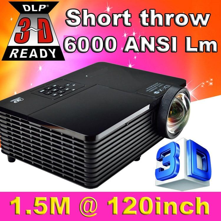 Tiro Corto 300 pulgadas 6000 Lúmenes DLP ATCO Holograma Proyector 3D HD PC VGA U