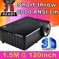Tiro Corto 300 pulgadas 6000 Lúmenes DLP ATCO Holograma Proyector 3D HD PC VGA USB Luz Del Día 1080 P Proyector De Vídeo Trasera Para la Educación escuela