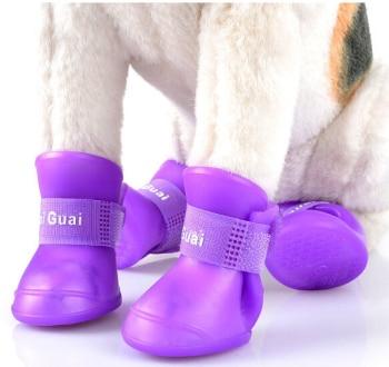 नई प्यारा कुत्ता जूते निविड़ अंधकार सुरक्षात्मक रबर सिलिकॉन पालतू जानवरों के जूते बारिश जूते कैंडी रंग एस एम एल एक्स्ट्रा लार्ज XXL 4pcs / सेट