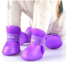 New Cute Dog Boots Waterproof Protective Rubber Silicone Pet Rain Shoes Boots botas Candy Colors S M L XL XXL 4pcs/set недорого