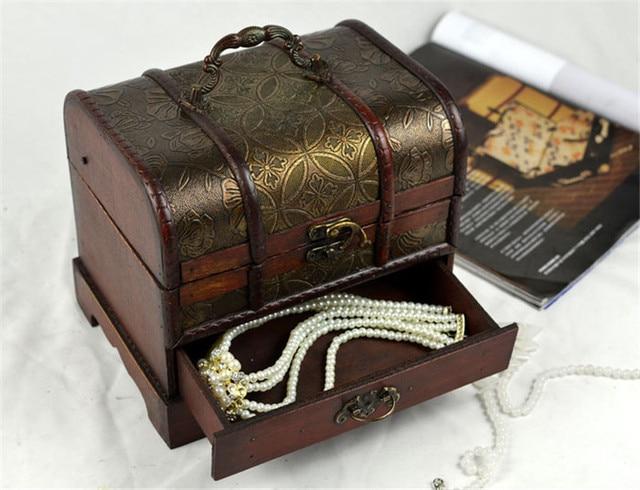 Vintage Retro Wooden Storage Box Jewelry Box Wooden Cosmetic Box Sundries Box Desktop Handicraft Furnishing Articles