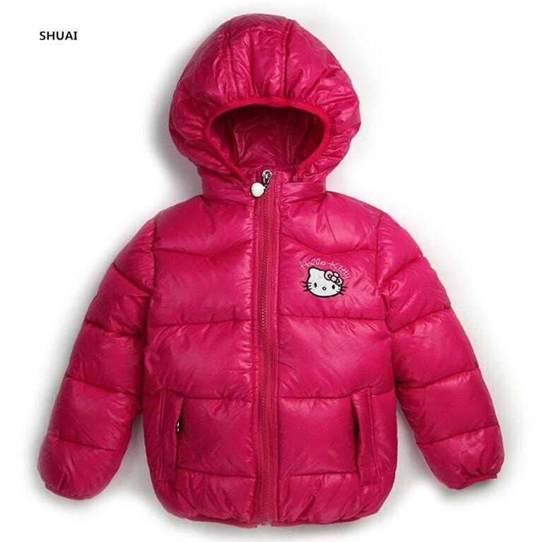 a5cb80589 New Hello Kitty Girls Jacket Kids Winter Keeping Warm Casual Hooded Coat  Children Cartoon Cotton-