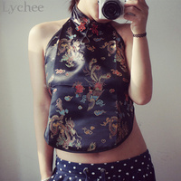 Vintage Summer Women Short Tank Top Sexy Backless Dragon Embroidery Chinese Bellyband Style Halter Cropped Top