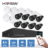 H View 16CH Surveillance System 8 720P Outdoor Security Camera 16CH CCTV DVR Kit Video Surveillance