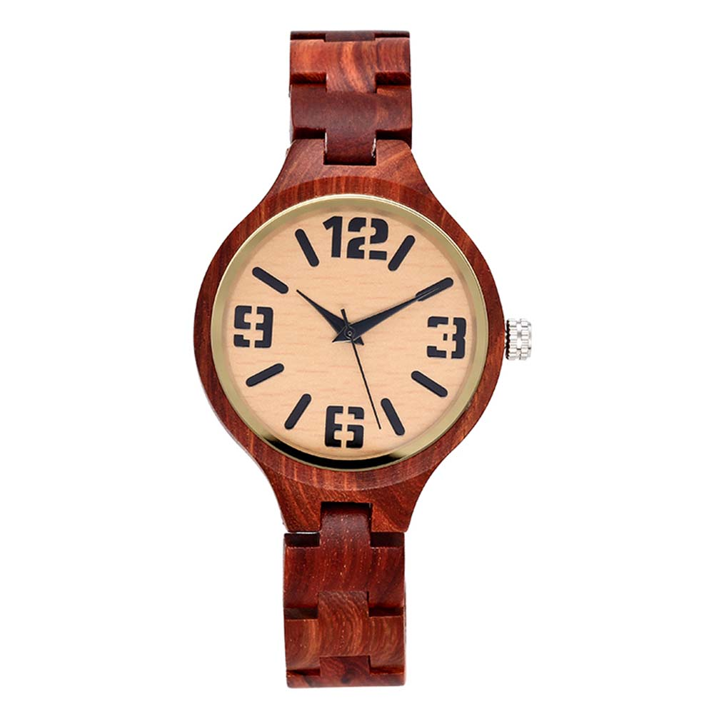 Fashion Red Wine Wooden Band Wood Watch With Big Arabic Numerals Dial Vintage Charm Bracelet Quartz Clock For Ladies natural hand made classic red wooden men quartz watch bracelet clase full wood band simple scale dial cool gift reloj masculino