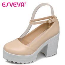 Punk Style Beige Thick High Heel Women Pumps Ankle Strap Round Toe Soft Leather Lady Platform Shoe Women Wedding Shoe Size 34-43
