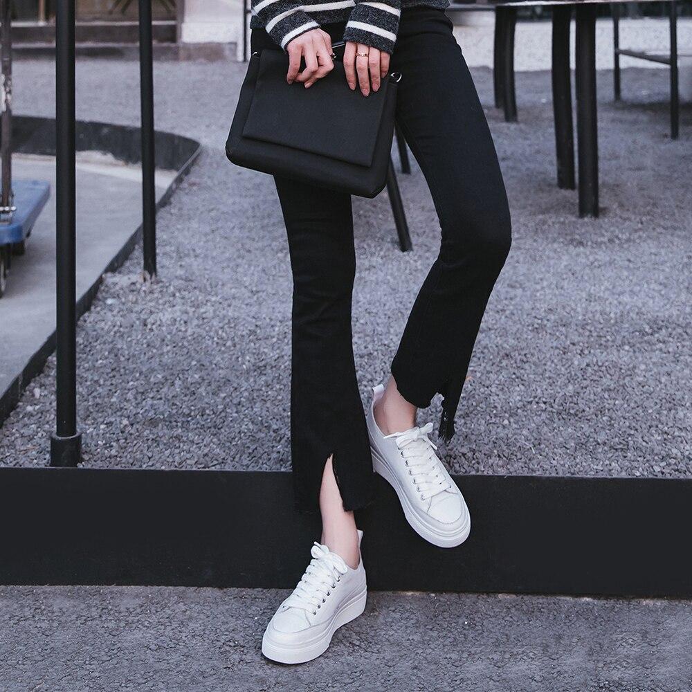 Plataforma Cuero Impermeable Casual Blanco Genuino Señora Zapatos apricot De Primavera 2019 Plana Mujer White Bescone Encaje By1 vzYq0