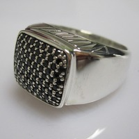 Sterling Silver Jewelry Pave Black Diamond 15MM Men's Ring Design Jewelry Fine Ring Valentine's Day Gifts Birthday Gifts
