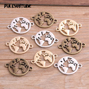 PULCHRITUDE 16pcs Color Round World Charms Connector Craft