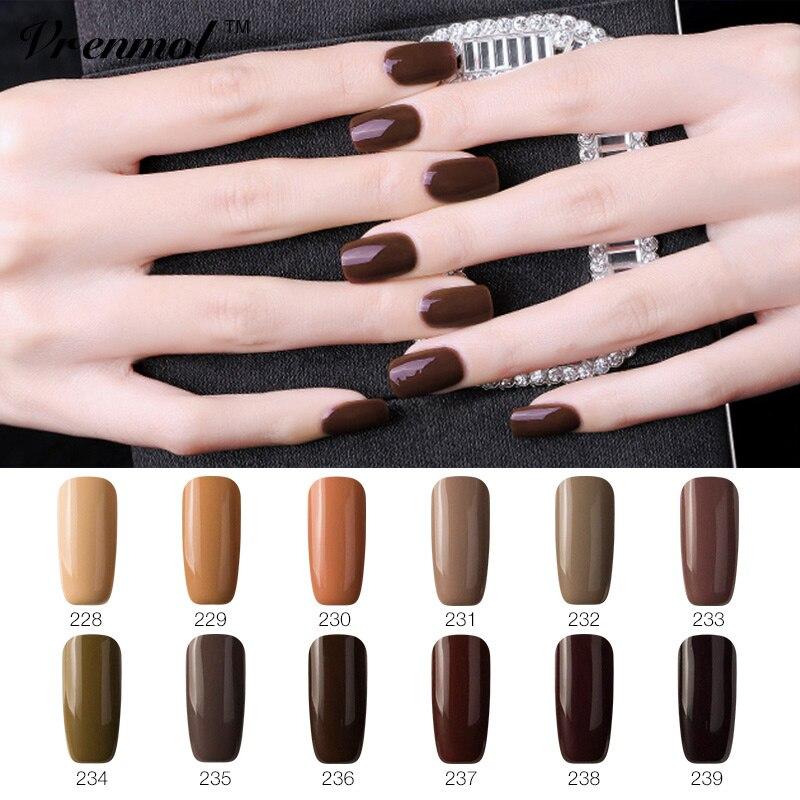 Vrenmol Gorgeous Coffee Brown Color Series Shiny Surface UV LED Nail Gel Polish Soak Off Gel Polish Varnish Esmaltes Makeup Nail