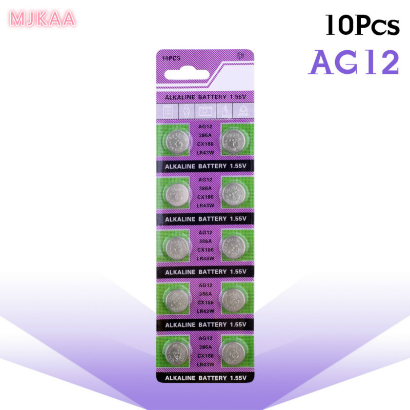 10pcs 1.55v Ag12 Alkaline Battery SR43W R43 SR1142 SB-B8 V386 D386 260 S1142E GP386 SG12 LR43 386A LR1144 Button Coin Cell
