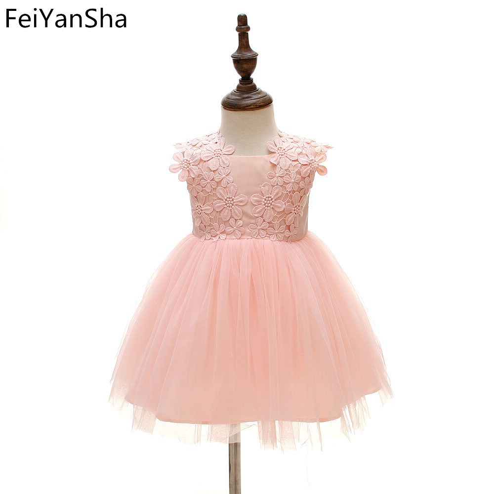 FeiYanSha Lace Flower Girls Wedding Dress Baby Girls Christening Cake Dresses For Party Occasion Kids 1 Year Baby Girl Birthday 4 15y little big girls clothes rustic flower girl wedding occasion junior bridesmaid kids cocktail dresses for 14 year girls