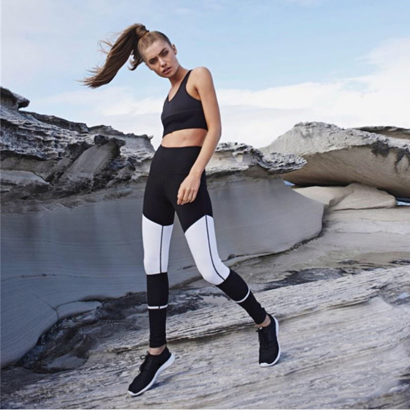 Women Polyester Yoga Sport Workout Legging Running Fitness Pant Stretch Trouser Color Block Full Length Flexible Lady Black New