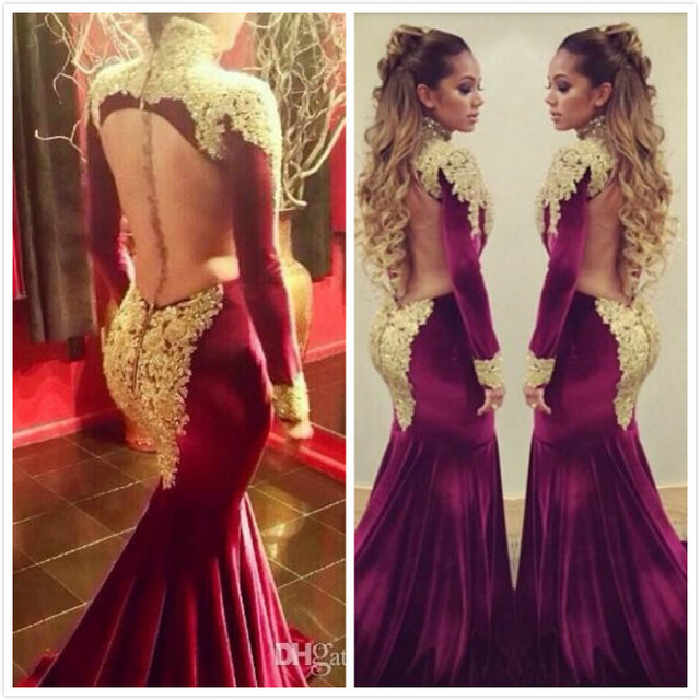 23b1877e5be Vestido Sexy Burgundy Backless Lace Beaded High Neck Winter Mermaid Evening  Prom Dresses With Long Sleeve E2880