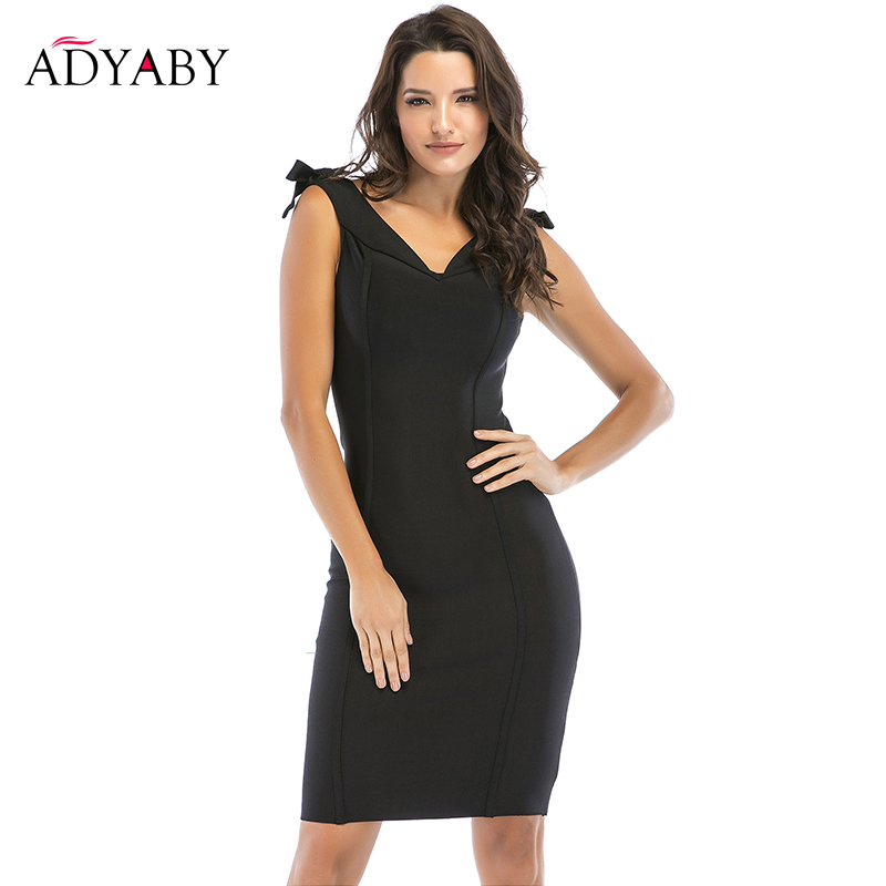 Bodycon Bandage Dress Women 2019 Summer New Arrivals V Neck Party Dresses Ladies Celebrity Knee Length