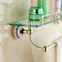 Wall Mounted Golden Polished Bathroom Accessories Bathroom Shelves of blue and white porcelain Racks