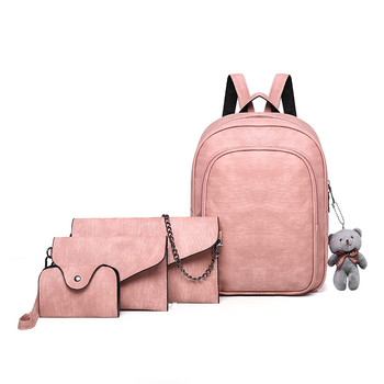 Fashion Composite Bag Pu Leather Backpack Women Cute Bear Set Shoulder Bags School Backpacks For Teenage Girls Tote Card Bags ukqling brand cute cartoon bag small women backpack children backpacks for teenage girls child school bags pu leather