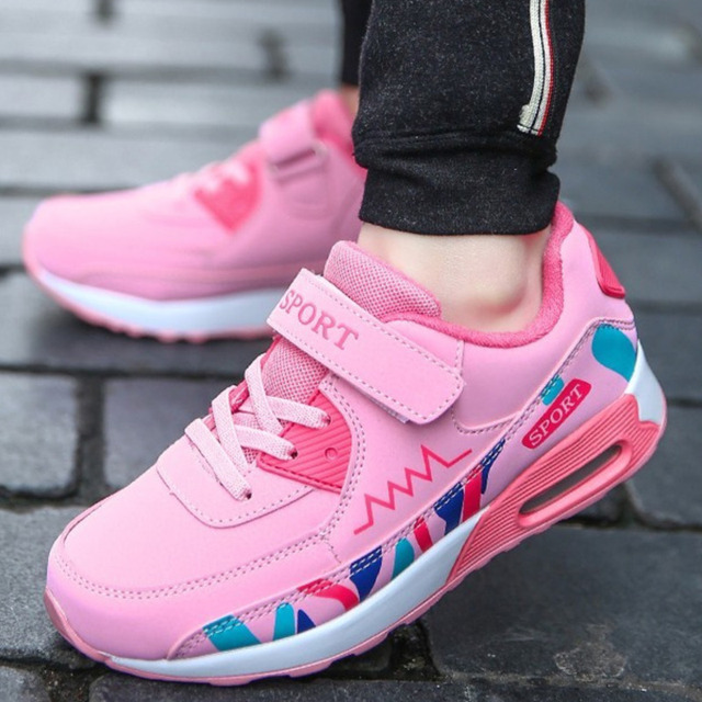 احذية الجري الرياضية الاطفال الفتيات أحذية رياضية المراهقين المدربين تنفس أحذية تنس خارجية غير رسمية فتاة أسود وردي حجم كبير 37 38