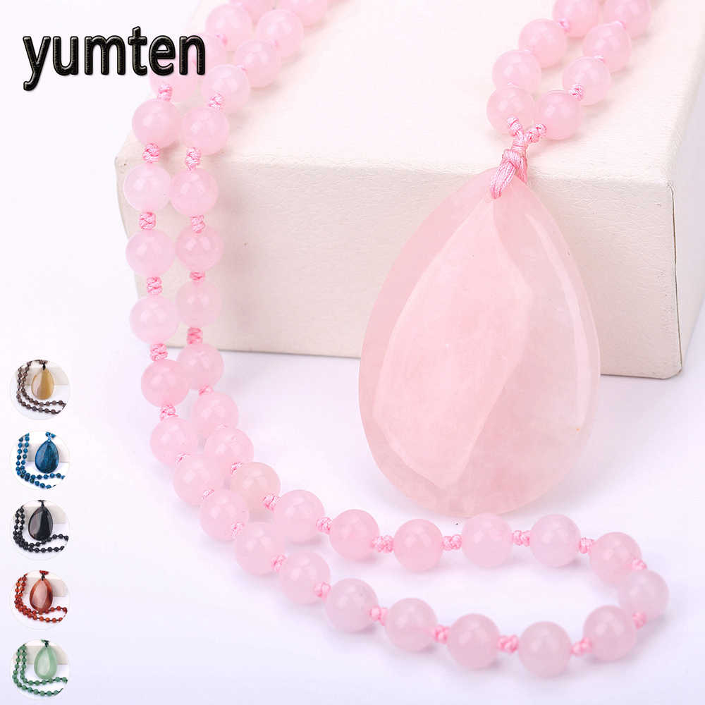 Yumten Rose Quartz Pendant Necklace Women Long Sweater Chain Water Drop Pendentif Femme Fine Jewelry Gemstone Beaded Accessories