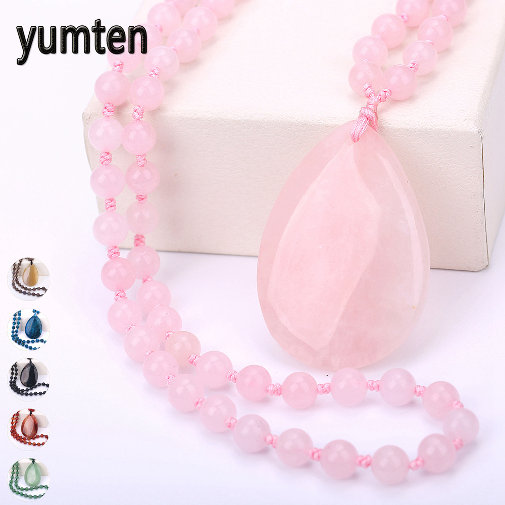 Yumten Rose Quartz Pendant Necklace Women Long Sweater Chain Water Drop Pendentif Femme Fine Jewelry Gemstone Beaded Accessories vintage faux crystal water drop sweater chain jewelry for women