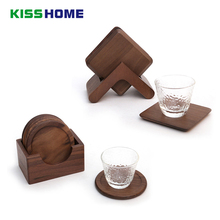 6pc/set Black Walnu Wooden Coffee Pat with Frame 9x9x0.8cm Qquare Circular Tea Cafe Wares Water Cup Sweet Dessert Insulation Mat