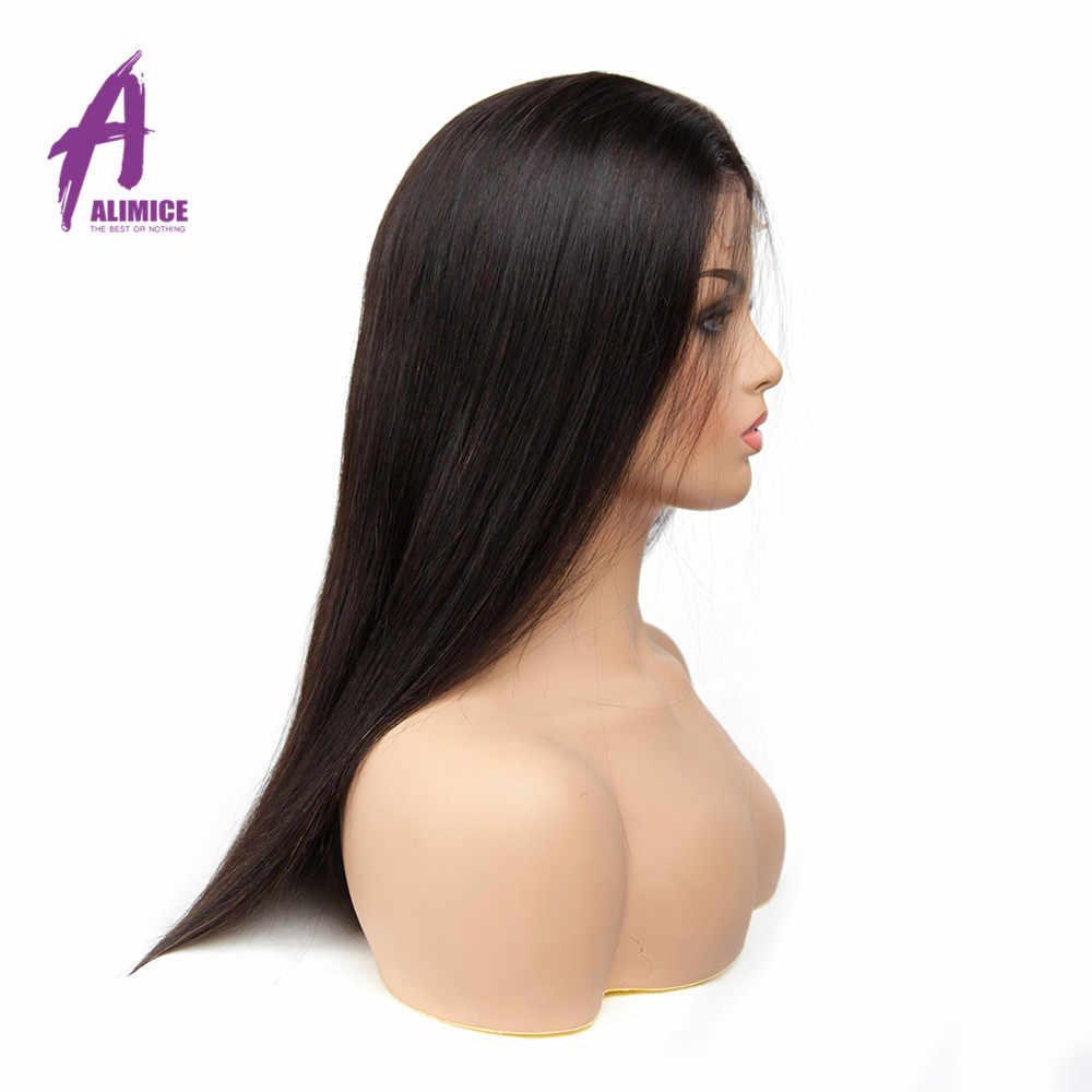 Alimice индийские прямые 4x4 кружева человеческих волос парики для женщин предварительно сорвал парики Remy с волосами младенца толщиной 180%