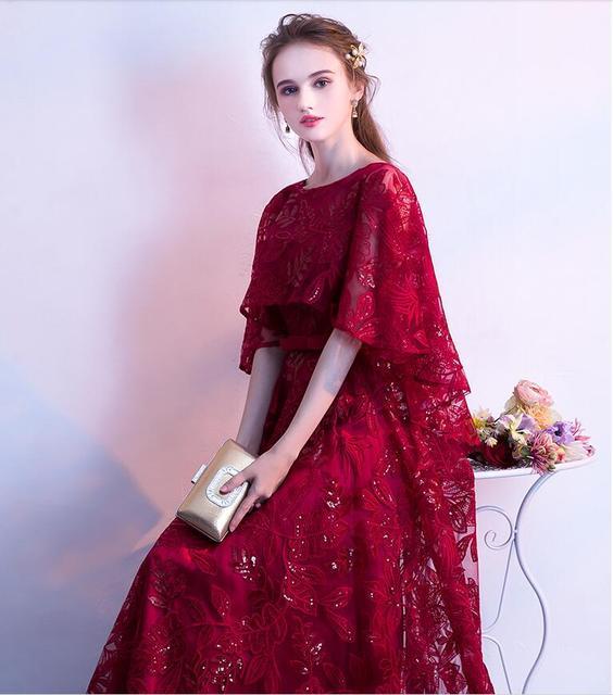 Rendas de lantejoulas vestido de baile 2019 elegante cape mangas vestidos de festa de formatura longo Vestidos de Noite formal do partido vestido Vestido de festa