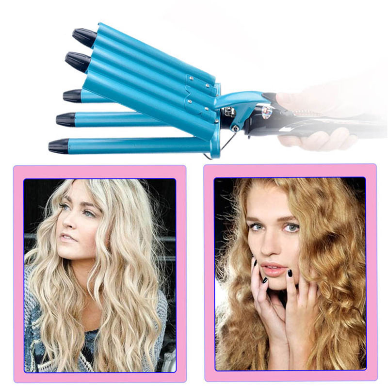 Pro Hairstyle Tools Size 5 Barrels Five Pipe Big Hair Wave Waver Nano Titanium Ceramic Curl Curling Irons Hair Curler Rollers