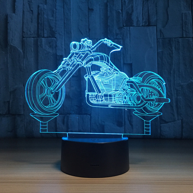 Coole Motorrad Acryl 3d Nachtlicht Led Stereo Vision Lampe 7 Farben