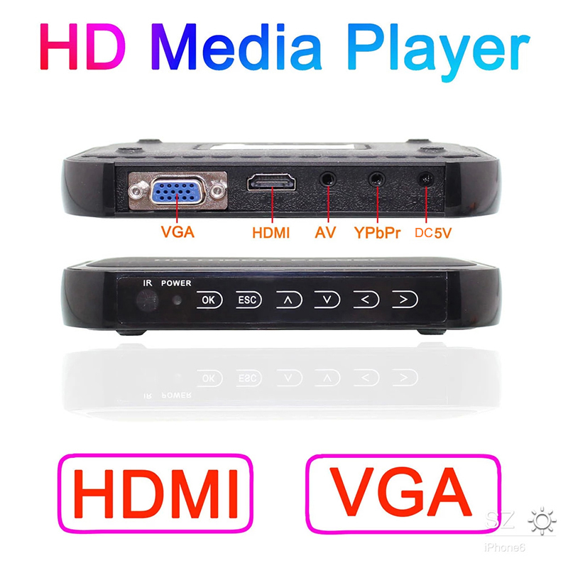 2019 New Full HD 1080P Media Player Mini Autoplay 1080p SD/U Disk HDMI VGA Media Player with retail package