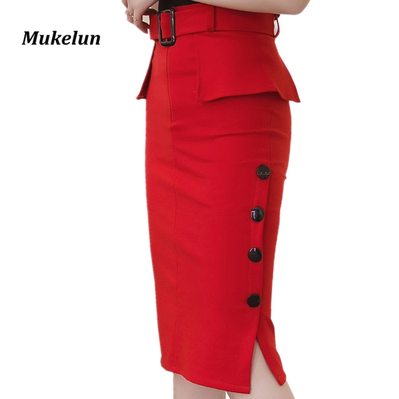 Fashion New Arrival 2018 Summer High Waist Midi Skirt Red Black Bodycon Pencil Skirts Buttons Open Slit Elegant Womens Skirts