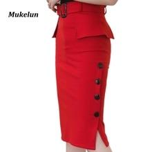 Fashion New Arrival 2018 Summer High Waist Midi Skirt Red Black Bodycon Pencil Skirts Buttons Open Slit Elegant Womens Skirts
